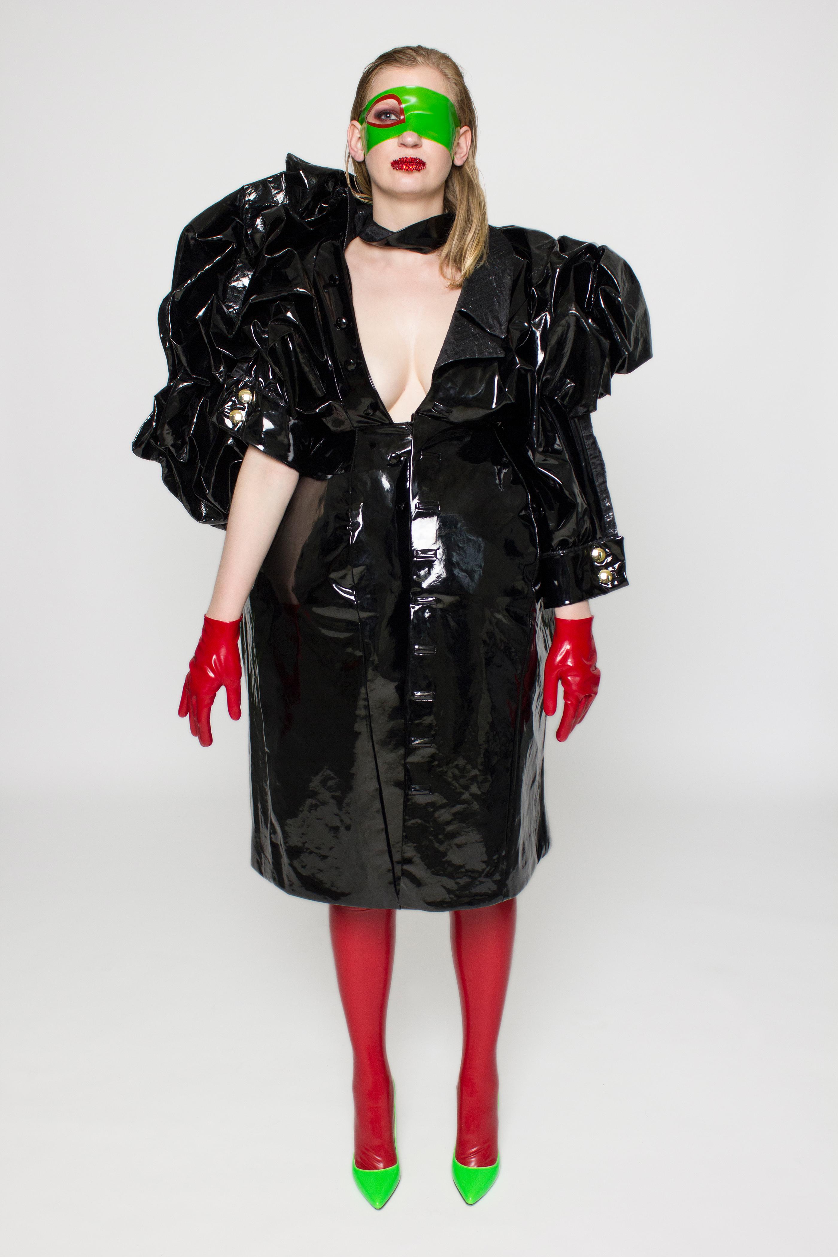 black pvc puddle raincoat kraken counter couturekraken