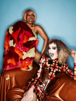 Checked Latex Dress with Camo Faux Fur - Bourgeoisie & Lauren Alexis