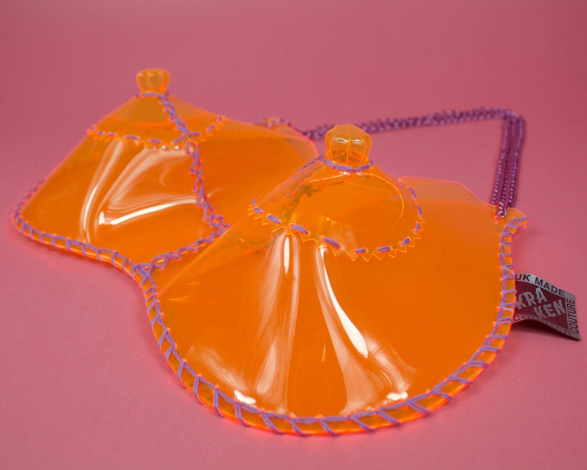 boobies-handbag-bag-clear-orange-pvc-bows-KrakenCounterCouture-purple-handmade-london-nipples