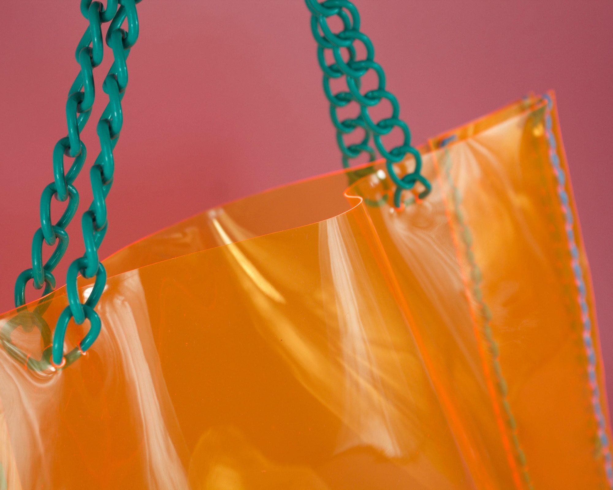shopper-handbag-bag-clear-orange-pvc-blue-KrakenCounterCouture-handmade-london-chain