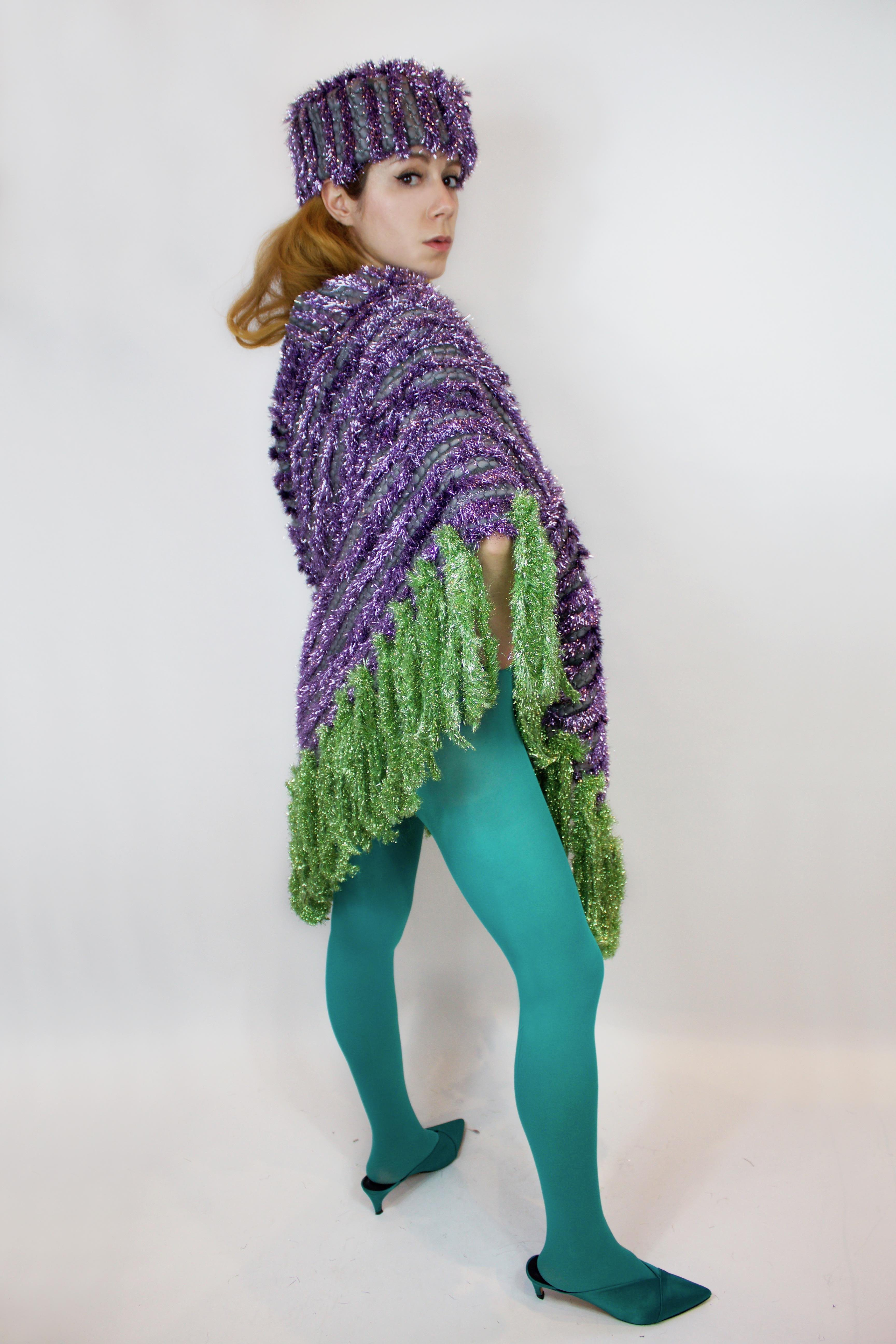 asymmetrical-poncho-pillbox-hat-lame-fringes-tinsel-winter-lilac-green-krakencountercouture-cossack